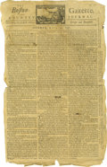 """Miscellaneous:Ephemera, 1757 French and Indian War Newspaper. Two pages, 9"""" x 15"""", Boston,Massachusetts, April 11, 1757. An incredible eyewitness a..."""