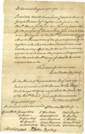 "Autographs:Statesmen, 1775 ""Committee of Intelligence"" Document. One page, 7.75"" x 12"",np, August 19, 1775. This manuscript was written exactly f..."