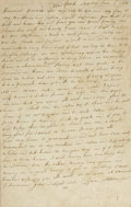 """Autographs:Military Figures, 1776 Revolutionary War Letter from a Doomed Soldier. One page, 7.5"""" x 12"""", New York, New York, June 9, 1776. Not even a mont..."""