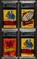 Football Cards:Sets, 1973, 1976 and 1977 Topps Football Unopened Wax Pack Collection (4). ...