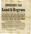 "Antiques:Posters & Prints, Large Broadside, COMMISSIONER'S SALE OF LAND & NEGROES, 13"" x14.5"", Campbellsville, Kentucky, April 2, 1860. A visually imp..."