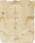 """Autographs:Military Figures, 1776 Battle of Long Island Document Regarding Capt. Robert Rogers' Company. Two pages, 7.25"""" x 6"""", New York, September 2, 17..."""