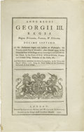 "Books:Pamphlets & Tracts, 1777 British Act - Crime of High Treason. Four pages, 7.75"" x 12"", London, 1777. Printed by ""Charles Eyre and William Straha..."