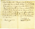 """Antiques:Black Americana, Revolutionary War-Dated Document Trading a Slave for 300 Acressigned by Charles Hurst. One page, 9.25"""" x 7.5"""", np [Pennsylv..."""