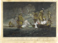 Antiques:Posters & Prints, John Paul Jones: Historic and Rare Engraving of the Battle Between his Ship Bonhomme Richard and the British Serapis...