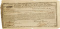 "Autographs:Military Figures, 1780 Revolutionary War Bond From Massachusetts. One page, 11"" x 5"".Wonderful Massachusetts state bond reads in part, ""In be..."