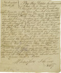 "Autographs:Military Figures, 1781 Revolutionary War Manuscript About Capture of An AmericanShip. Three pages, 6.25"" x 7.5"", Boston, Massachusetts, Novem..."