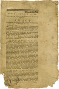 "Military & Patriotic:Revolutionary War, Rare New Hampshire Revolutionary War Imprint, ""AN ACT Forsupplying the Continental Army with Ten Thousand Gallons ofWes..."