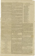"""Miscellaneous:Ephemera, 1789 Broadsheet from the Gazette of the United States. Two pages, 10"""" x 16"""", pages 16 and 17, Philadelphia, nd. Titled ..."""