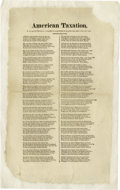 Antiques:Posters & Prints, Very Rare Early American Broadside, American Taxation, Or the spirit of Seventy-six exemplified in a song written in the g...