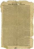 """Antiques:Posters & Prints, War of 1812 Broadside, """"Supplement to the New HampshirePatriot"""", one page, 13"""" x 20"""", Concord, New Hampshire, June 30,..."""
