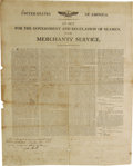 """Antiques:Posters & Prints, Merchant Seaman and the Government: A Superb Early Nautical Broadside/Contract. Two pages, 17"""" x 20"""", New Bedford, Massachus..."""