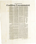 """Antiques:Posters & Prints, Broadside, Albany Register Extra. Coalition Consummated. One page, 18.5"""" x 21.5, Albany, New York, April 19, 1820. This ..."""