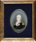 "Books:Pamphlets & Tracts, General John Stark Gouache Painted Portrait. Circa 1830, 7"" x 5"".This is a beautiful, hand-painted portrait of the famous R..."