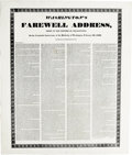 Antiques:Posters & Prints, Broadside, Washington's Farewell Address, Issued by the PrintersOf Philadelphia on the Centennial Anniversary of The Birth-...