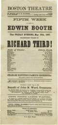 """Antiques:Posters & Prints, 1867 Edwin Booth Printed Playbill for Richard Third. Onepage, 4.5"""" x 9.5"""", Boston Theatre, May 10, 1867. Edwin Booth wa..."""