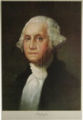Antiques:Posters & Prints, 1932 George Washington Color Lithograph. Done after the painting byGilbert Stuart, made by Edwards & Deutsch Litho. Company...