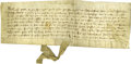 "Autographs:Non-American, Fourteenth Century English Land Deed, one page, 11.5"" x 4.25"", onvellum, dated 1350. In Latin, this handsome document is a ..."