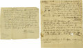 "Military & Patriotic:Revolutionary War, Four 18th Century American Manuscripts. 1). Autograph Note Signed, ""Tristram Bartlett"" and ""Nathan Chele"", one p... (Total: 4 )"
