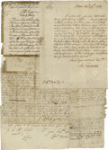 Autographs:Statesmen, Collection of Colonial American Manuscript Documents including atleast 15 handwritten deeds, receipts, invoices, and summon...(Total: 15 )