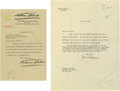 Autographs:Celebrities, John D. Rockefeller Jr. and Four Other Prominent AmericanIndustrialists. A group lot consisting of a 1920 Rockefeller TLS,... (Total: 4 )