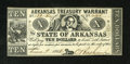 Obsoletes By State:Arkansas, (Little Rock,) AR- State of Arkansas $10 June 9, 1862. Rarely are these notes found in such a lofty grade. About Uncircula...