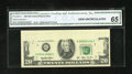 Error Notes:Obstruction Errors, Fr. 2080-G $20 1993 Federal Reserve Note. CGA Gem Uncirculated 65..The label declares this an obstructed printing error wit...