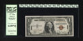 Small Size:World War II Emergency Notes, Fr. 2300 $1 1935A Hawaii Silver Certificate. PCGS Very Choice New 64PPQ.. The overly wide top margin reveals two paper guide...