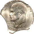 Errors, 1976-D $1 Type Two Eisenhower Dollar -- Struck Off Center on a Double Clipped Planchet -- MS65 NGC....