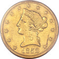 Liberty Eagles, 1852-O $10 -- Planchet Lamination Obverse -- AU50 PCGS. Variety1....