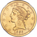 Liberty Half Eagles, 1866-S $5 No Motto -- Improperly Cleaned -- NGC Details. AU....