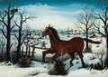 Fine Art - Painting, European:Contemporary   (1950 to present)  , Miland Nad (Yugoslavian, born 1945). . A Galloping Horse .1980. Reverse oil on glass. Signed and dated lower ri...