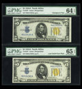 Small Size:World War II Emergency Notes, Fr. 2307 $5 1934A North Africa Silver Certificates. ChangeoverPair. PMG Choice Uncirculated 64 EPQ/Gem Uncirculated 65 EPQ....