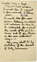 """Autographs:Celebrities, Buzz Aldrin - Handwritten Notes and Scriptures Flown to the Surface of the Moon. Front and verso of a 3"""" x 5"""" buff-colored l... (Total: 1 Item)"""