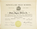 "Explorers:Space Exploration, Buzz Aldrin Montclair High School Diploma, June 20, 1947, Montclair, New Jersey, 10"" x 8"", two pages, the second page is a c... (Total: 2 Item)"