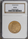 Indian Eagles: , 1914-D $10 VF25 NGC. NGC Census: (1/1607). PCGS Population(0/1462). Mintage: 343,500. Numismedia Wsl. Price for NGC/PCGS c...