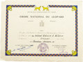 Explorers:Space Exploration, Colonel Buzz Aldrin Award Certificate for the Ordre National duLeopard, Democratic Republic of Congo. Aldrin was made an of...(Total: 1 Item)