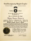 "Explorers:Space Exploration, Buzz Aldrin, Award Certificate for the Knights Templar Cross ofHonor. Aldrin was awarded the medal for, ""...his place on the ...(Total: 1 Item)"