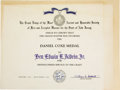 Explorers:Space Exploration, Buzz Aldrin Award Certificate for the Grand Lodge of New Jersey'sDaniel Coxe Medal. Aldrin was awarded the medal for distin...(Total: 1 Item)