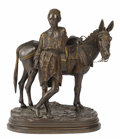 Bronze:European, A French Bronze Sculpture. Alfred Dubucand (French, 1828-1894).Entitled Anier de Caire, the sculpture of an Arab boy ...