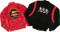 Music Memorabilia:Memorabilia, ZZ Top Tour Jackets. This nifty pair of ZZ Top tour jacketsincludes a red satin jacket (no size tag) with front-and-back El...(Total: 2 Item)