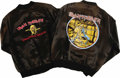 Music Memorabilia:Memorabilia, Iron Maiden Tour Jackets. Maiden fans look no further: two vintage black satin tour jackets (both size medium) from Iron Mai... (Total: 2 Item)