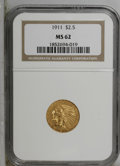 Indian Quarter Eagles: , 1911 $2 1/2 MS62 NGC. NGC Census: (2535/2068). PCGS Population(1202/1345). Mintage: 704,000. Numismedia Wsl. Price: $535. ...