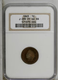 1863 1C One Cent, Judd-299, Pollock-359, R.3, PR66 Red and Brown NGC. NGC Census: (3/0). PCGS Population (2/0). (#70454)...