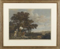 Prints, AFTER GEORGE STUBBS (English, 1724 - 1806). Shooting (by William Woollett). Colored engraving (1 of a set of 4). 24 x 30...