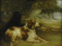 SIR ERNEST ALBERT WATERLOW (British, 1850 - 1919) Man's Best Friend Oil on board Signed and dated lower right Sir E
