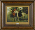 Prints:European Modern, W. H. HARDY (1868 - 1918)Equestrian Scene. Color print withcracklure coating on board. 8 x 10in.. Signed lower left ...