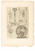 Prints:European Modern, ORIGINAL ART NOUVEAU DECORATIVE STUDY. Period print on paper. 13 x9in.. Stamped PL 70. ...