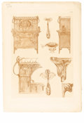 Prints:European Modern, ORIGINAL ART NOUVEAU ARCHITECTURAL STUDY. Period print on paper. 13x 9in.. Stamped PL 64. ...