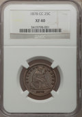 Seated Quarters: , 1878-CC 25C XF40 NGC. NGC Census: (6/211). PCGS Population (9/235).Mintage: 996,000. Numismedia Wsl. Price for problem fre...